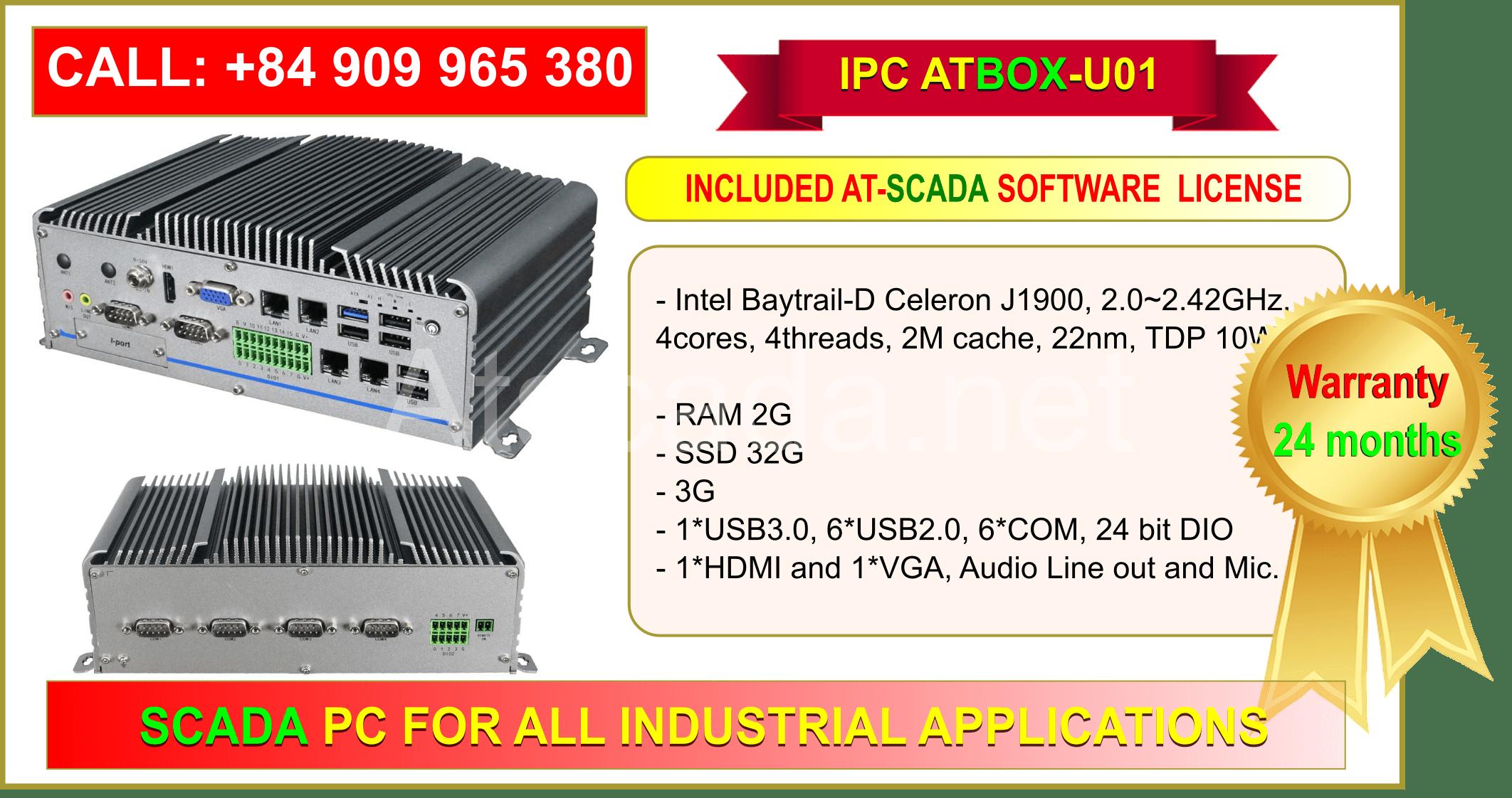 ATBOX-U01 Intel Celeron RAM 2GB - Full ATSCADA Software License