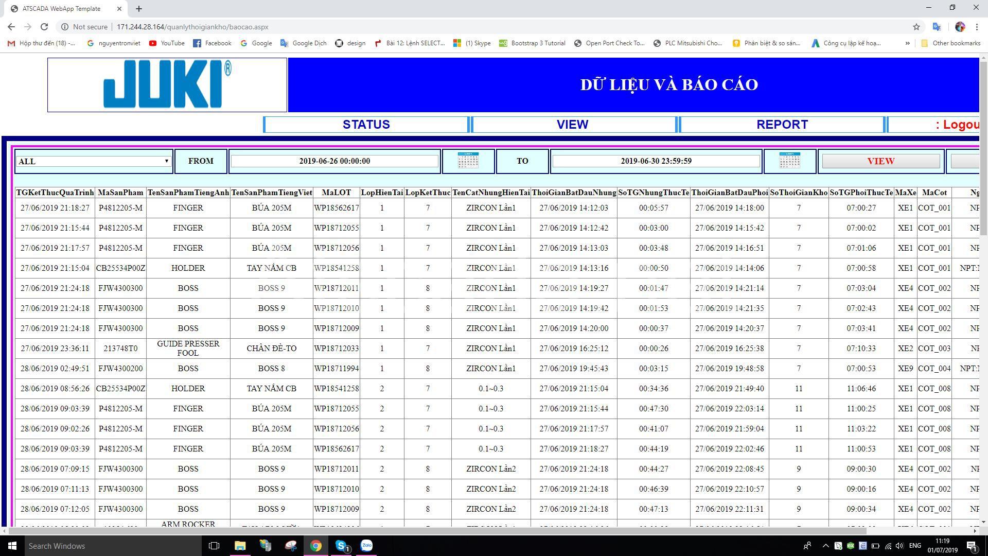 giao diện hệ thống giám sát thời gian làm khô khuôn