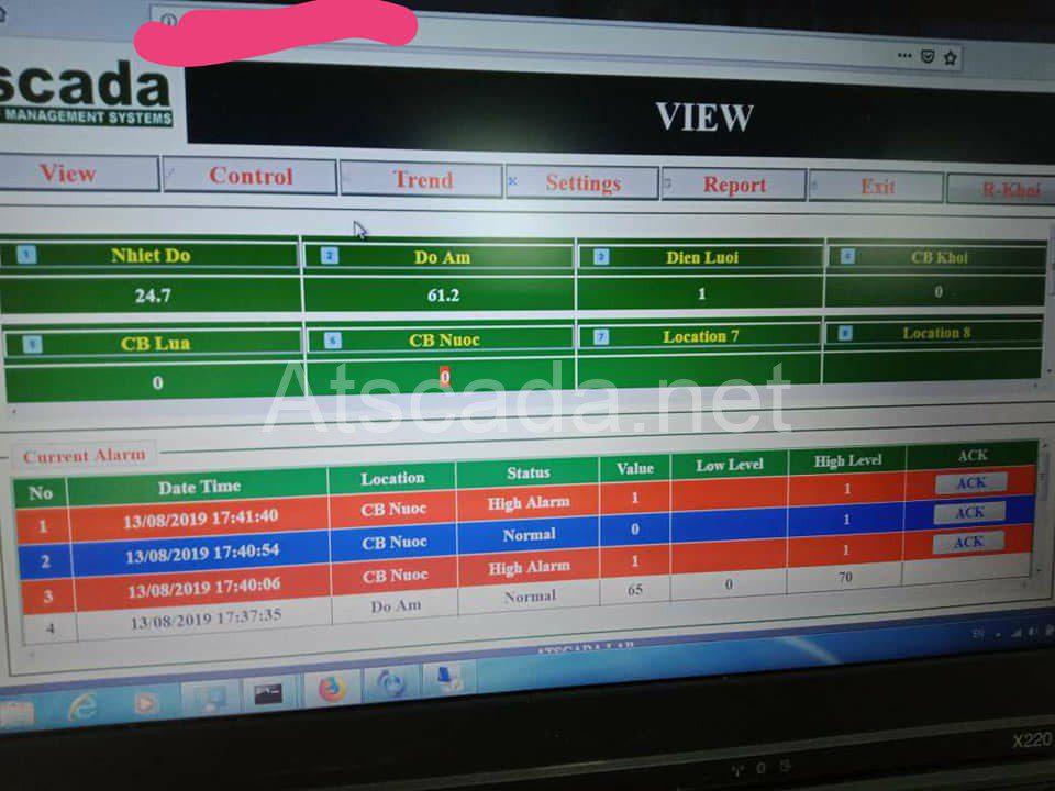 giao diện giám sát phòng máy chủ