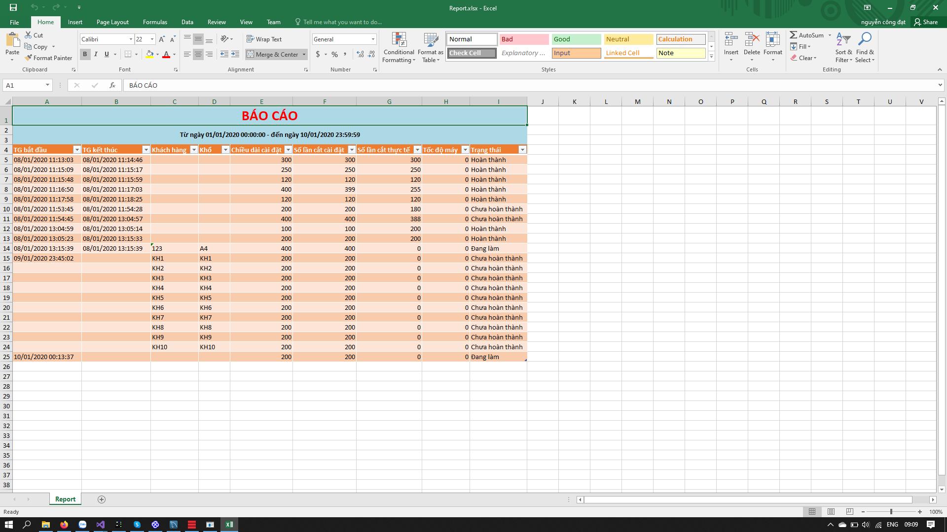 Giao diện phần mềm giám sát năng suất - Giao diện xuất báo cáo file excel