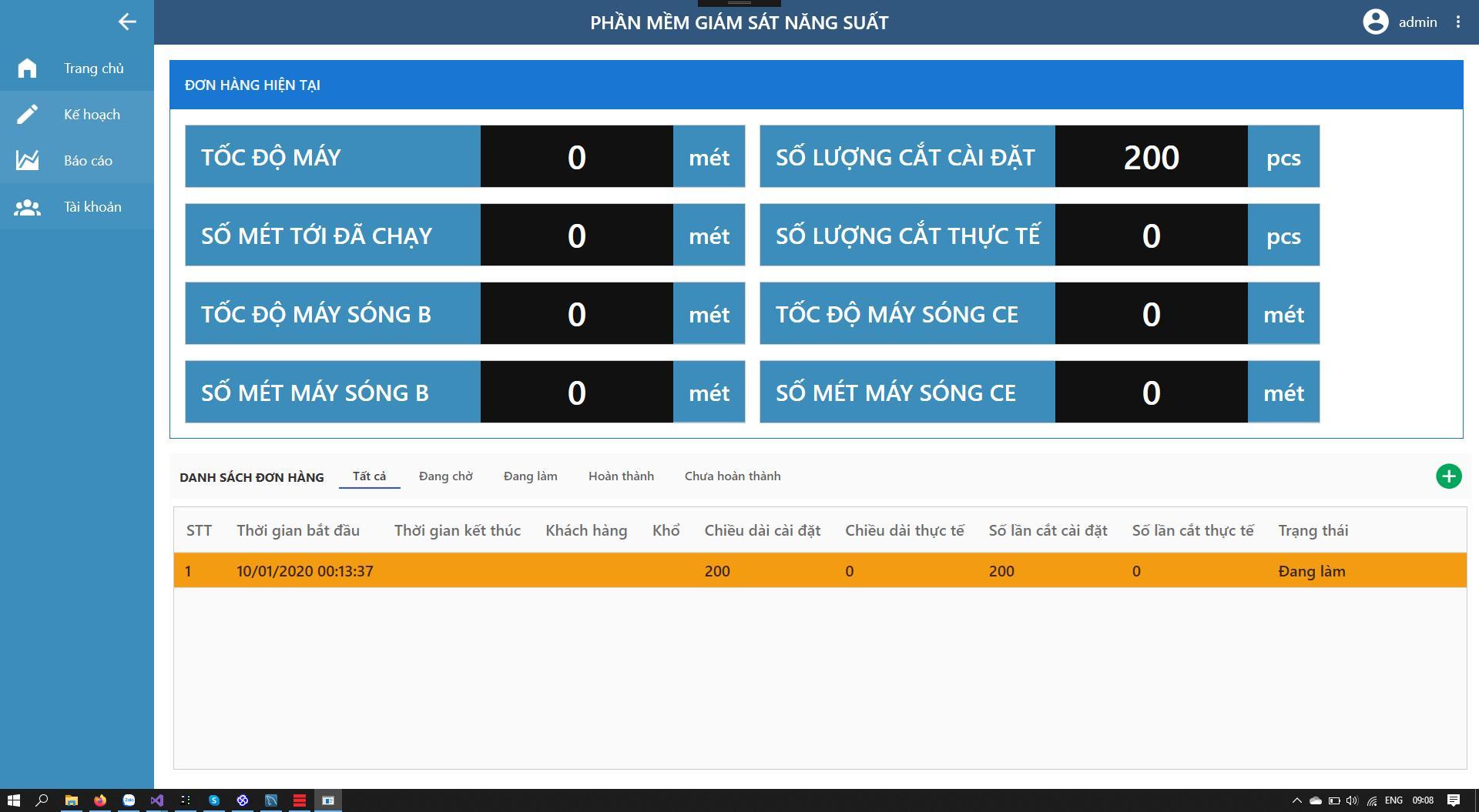 Phần mềm giám sát năng suất - Giao diện hiển thị/Display