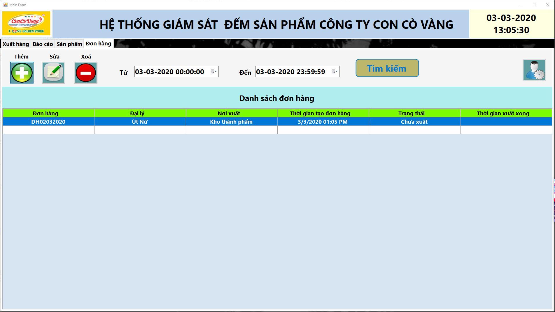 phần mềm giám sát sản xuất giao diện đươn hàng