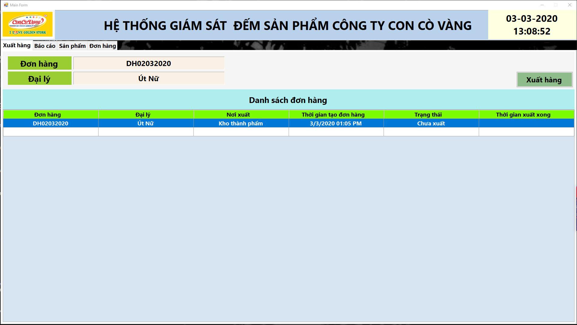 phần mềm giám sát sản xuất giao diện xuất đơn hàng