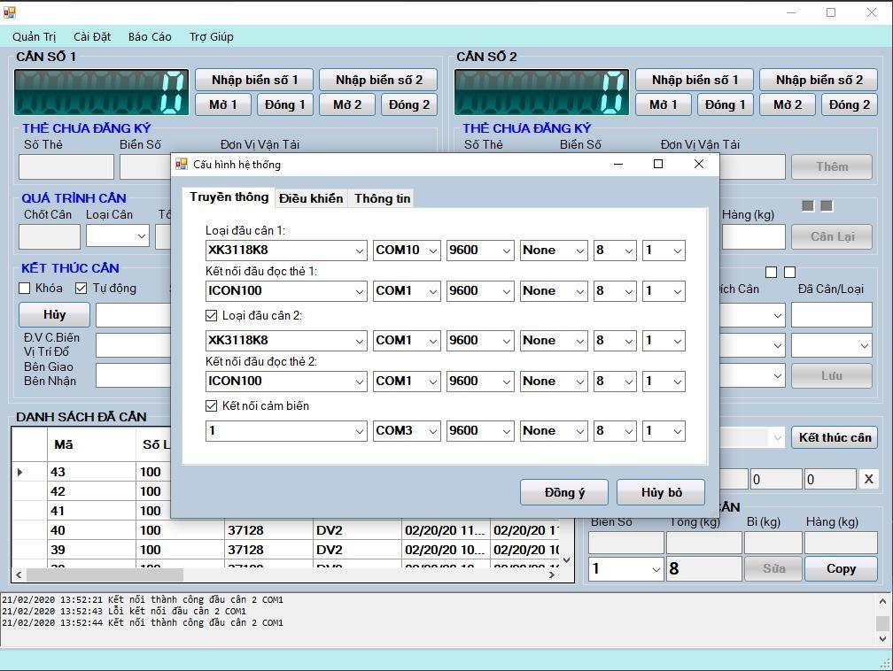 phần mềm quản lí trạm cân