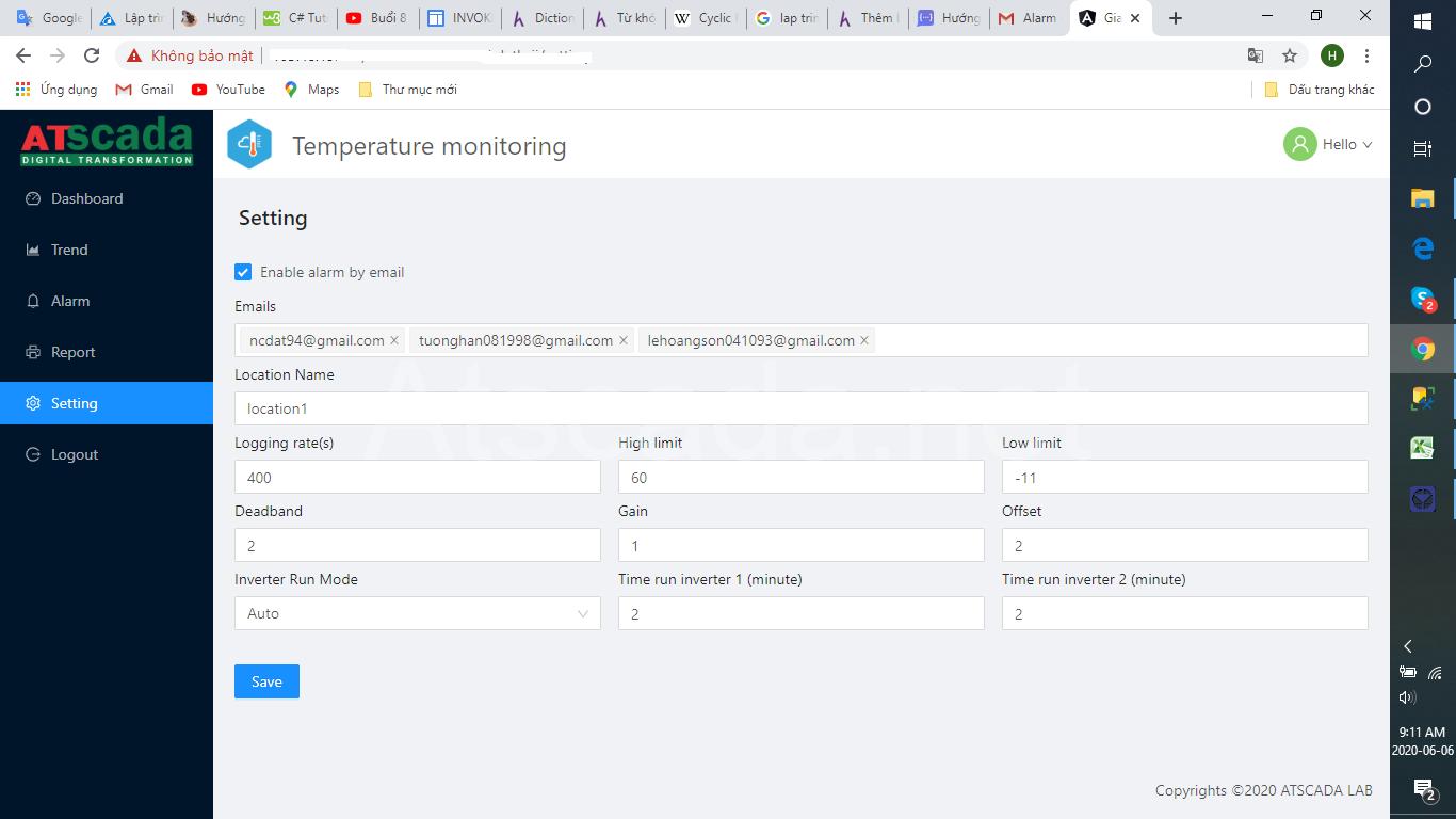 phần mềm giám sát cảnh báo nhiệt độ phòng server - giao diện webform
