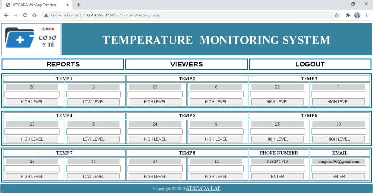 phần mềm giám sát nhiệt độ
